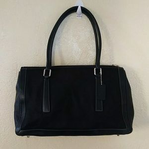 Coach Black Cloth Leather Handbag